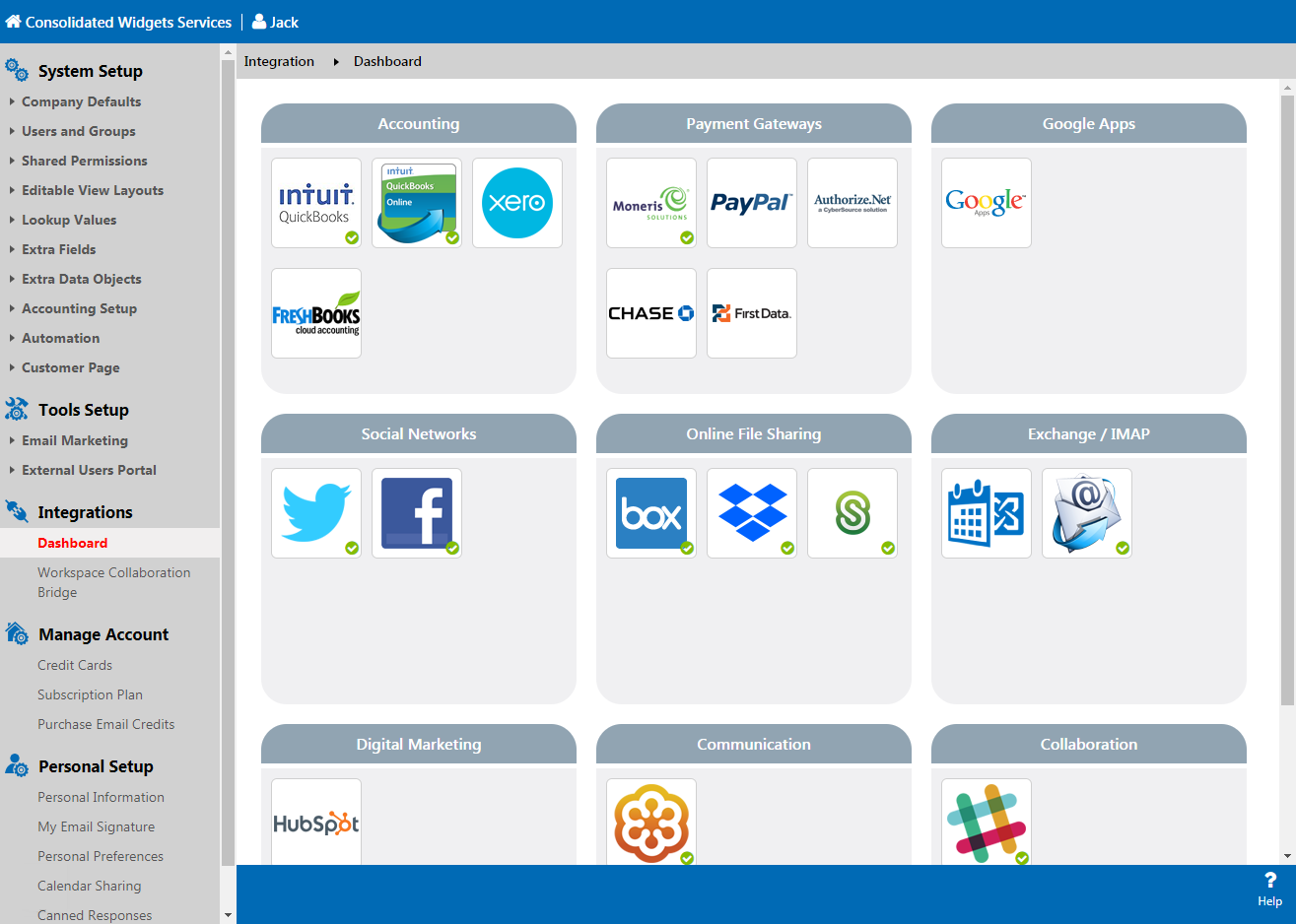 Integrations dashboard